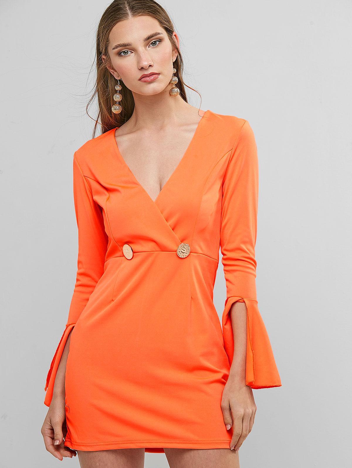 Flare Sleeve Mock Buttons Mini Surplice Dress