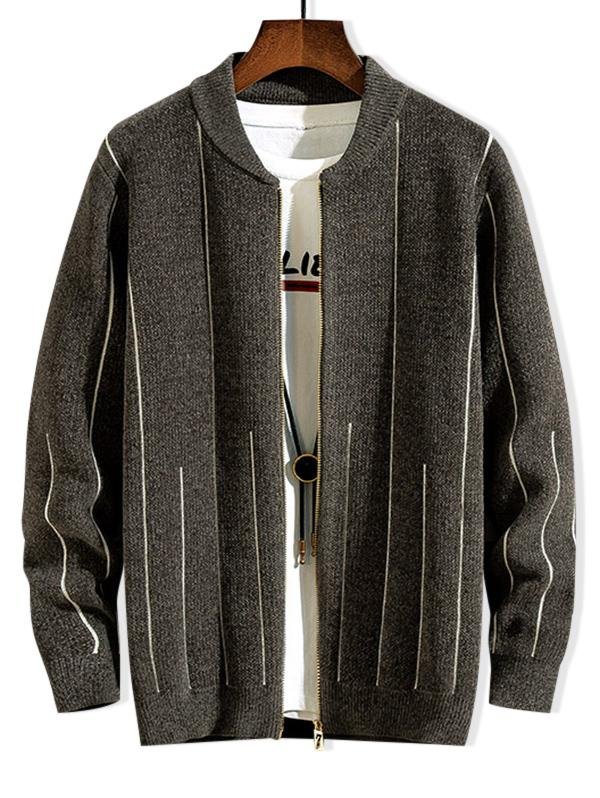 Striped Graphic Zip Up Casual Sweater thumbnail