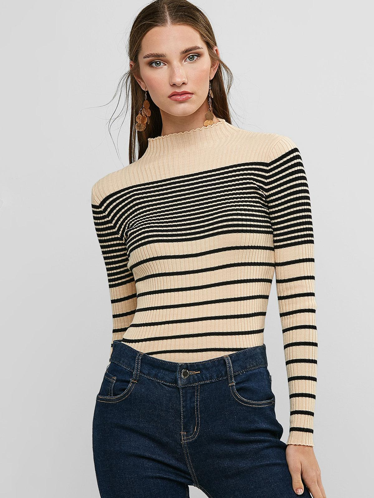 Ribbed Striped Mock Neck Fitted Sweater