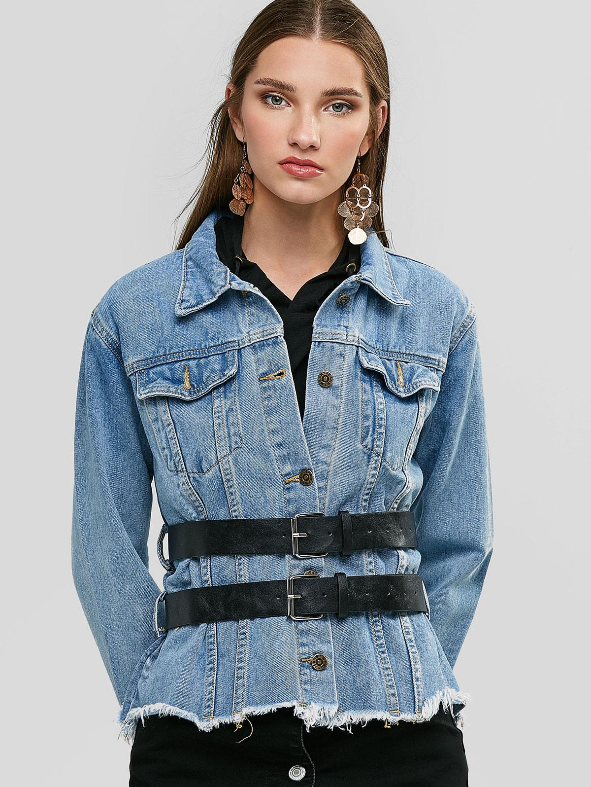 Destroyed Hem Belted Button Up Jean Jacket