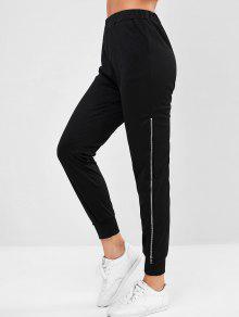 جيب السوستة الجانبية عداء ببطء سروال - أسود S