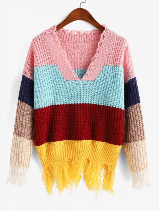 lady Colorblock Distressed Chunky Sweater - MULTI-A M
