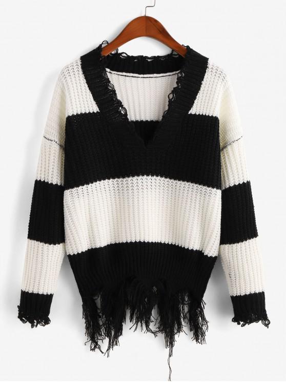 lady ZAFUL Two Tone Distressed Sweater - MULTI-A M