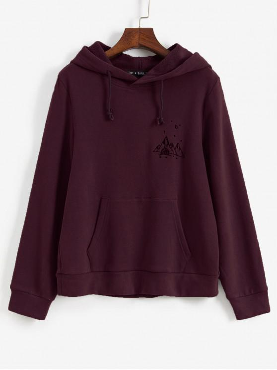 trendy ZAFUL Embroidered Fleece Lined Kangaroo Pocket Hoodie - RED WINE XL