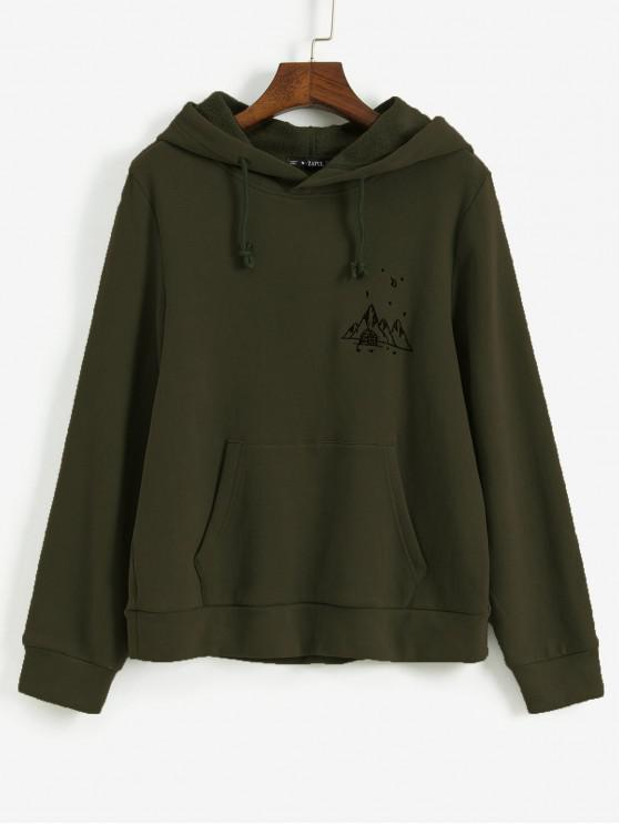 affordable ZAFUL Embroidered Fleece Lined Kangaroo Pocket Hoodie - ARMY GREEN XL