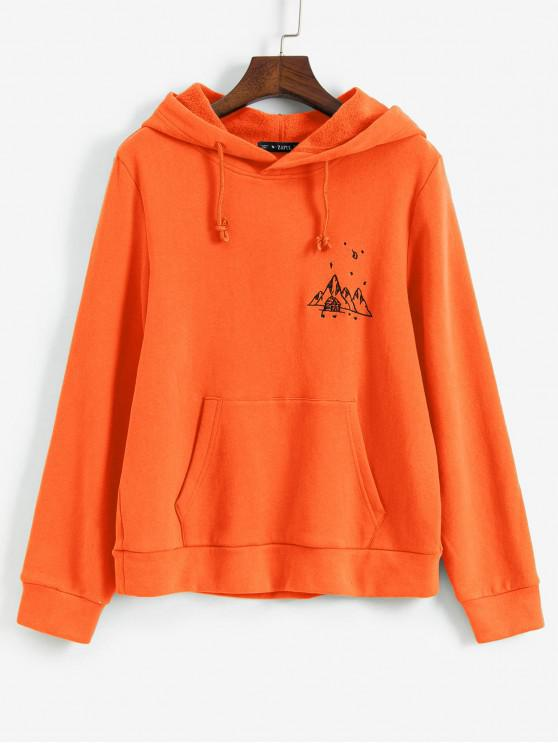 women's ZAFUL Embroidered Fleece Lined Kangaroo Pocket Hoodie - PUMPKIN ORANGE L