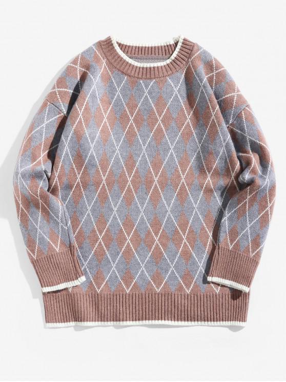 shop Contrast Trim Geometric Graphic Pullover Sweater - TANGERINE M