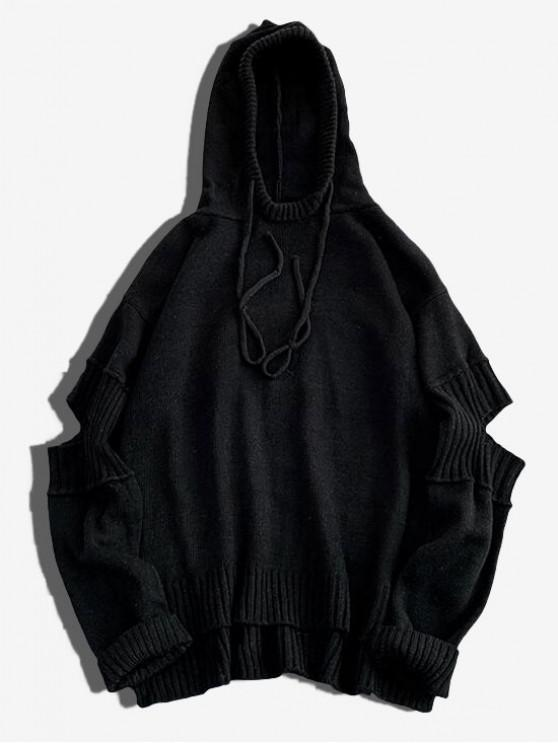 unique High Low Ripped Solid Hooded Sweater - BLACK L