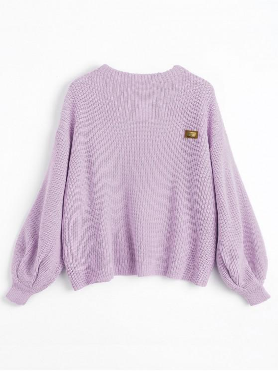 hot ZAFUL Oversized Chevron Patches Pullover Sweater - WISTERIA PURPLE ONE SIZE
