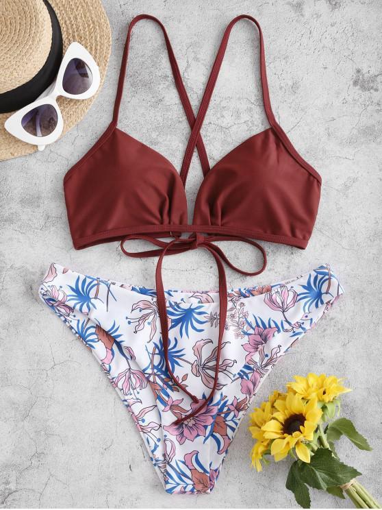latest ZAFUL Floral Leaf Crisscross Bikini Swimsuit - FIREBRICK S