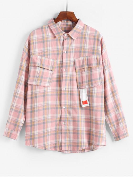 women Plaid Pattern Pocket Decoration Jacket - PINK M