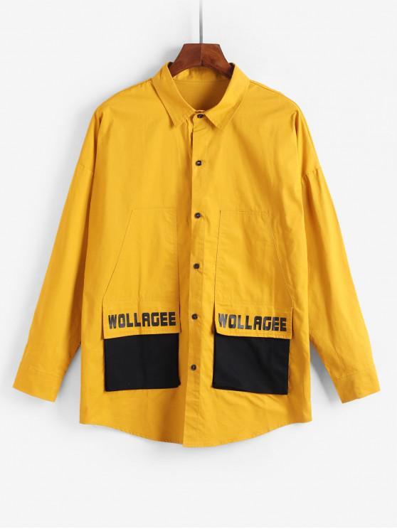 Casual Diseño bolsillo de la chaqueta Carta - Amarillo 4XL