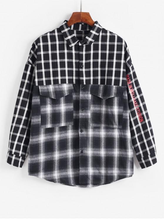 sale Plaid Pocket Design Casual Jacket - BLACK M