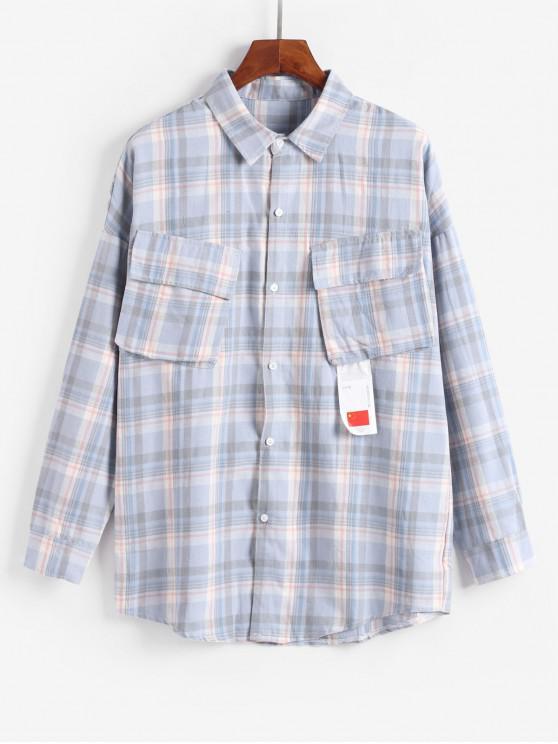 trendy Plaid Pattern Pocket Decoration Jacket - BLUE 2XL
