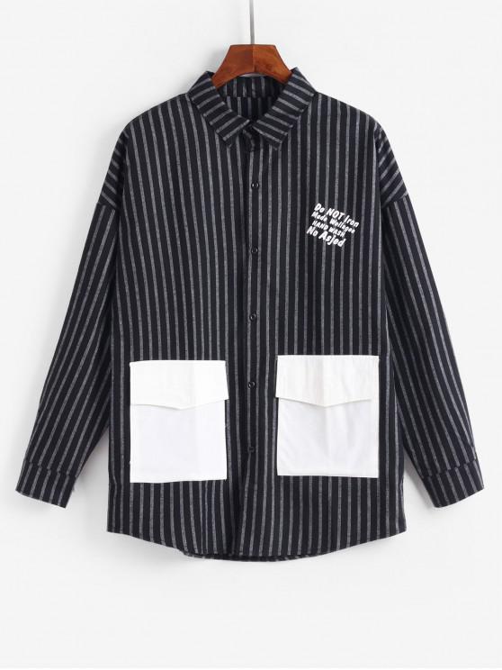 lady Casual Striped Letter Pattern Jacket - BLACK M