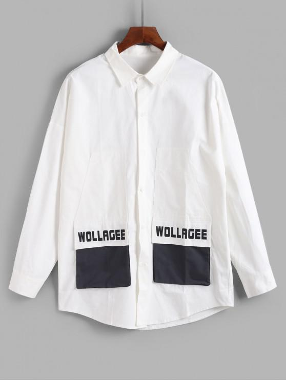 Casual Diseño bolsillo de la chaqueta Carta - Blanco XL
