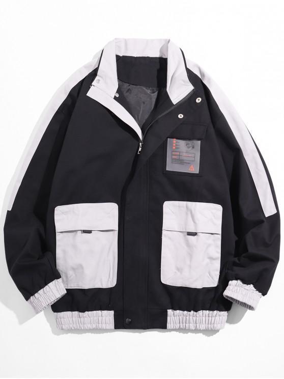 Colorblock empalmado Multi-bolsillo de la chaqueta remiendo de Carga - Gris M