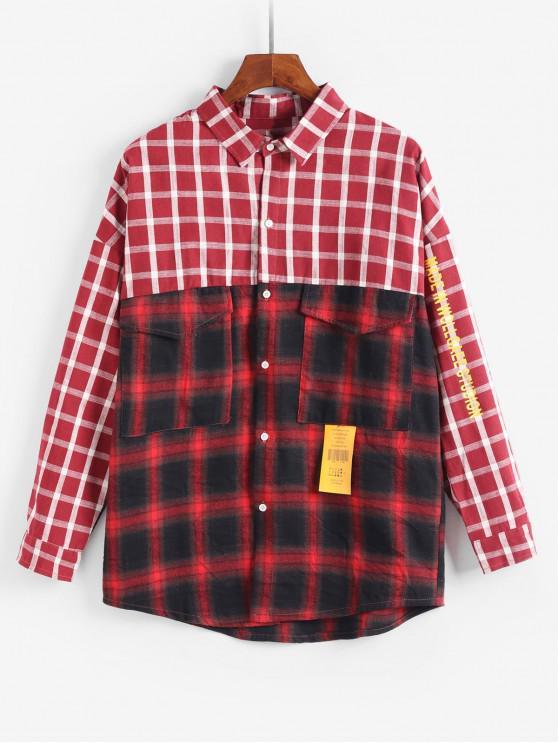 Diseño de bolsillo de la chaqueta a cuadros informal - Rojo 2XL