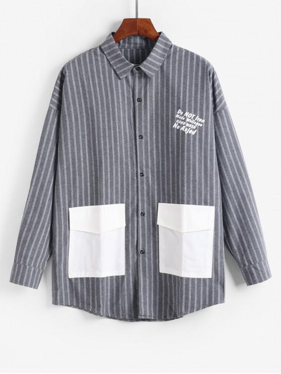 Casual chaqueta de rayas patrón de la letra - Nube Gris L