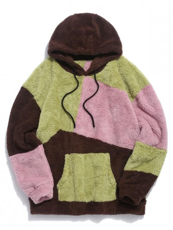 shop ZAFUL Kangaroo Pocket Contrast Fluffy Hoodie - MULTI L