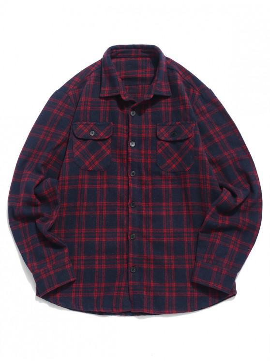 ZAFUL Plaid Stampa doppia tasca Button Up Shirt - Vino Rosso S
