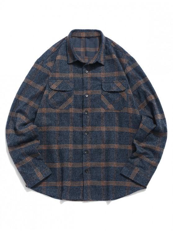 ZAFUL Plaid Stampa Button Up Doppia tasca della camicia - Blu Marmo  S