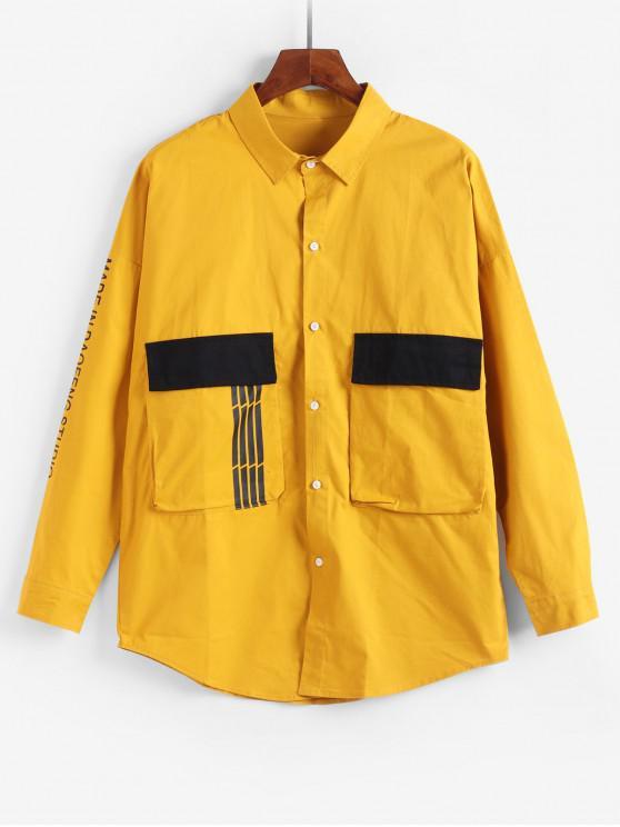 Impresa letra del bolsillo de la chaqueta decorada - Amarillo 4XL