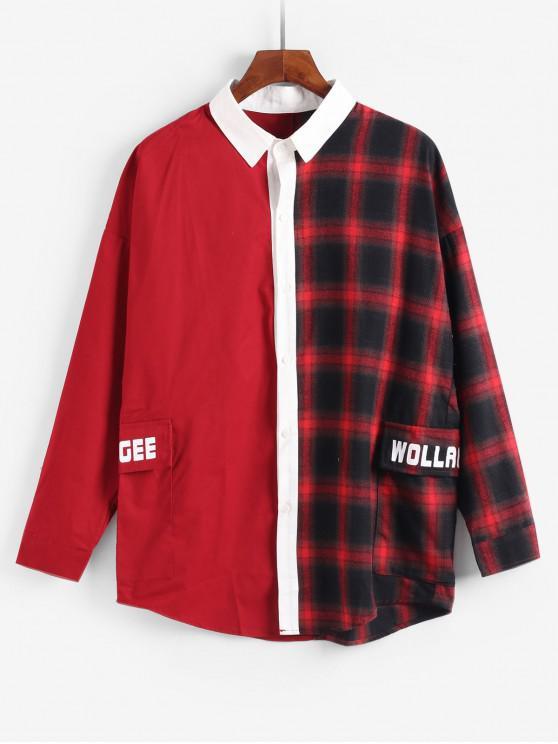 online Graphic Plaid Spliced Design Jacket - RED XL