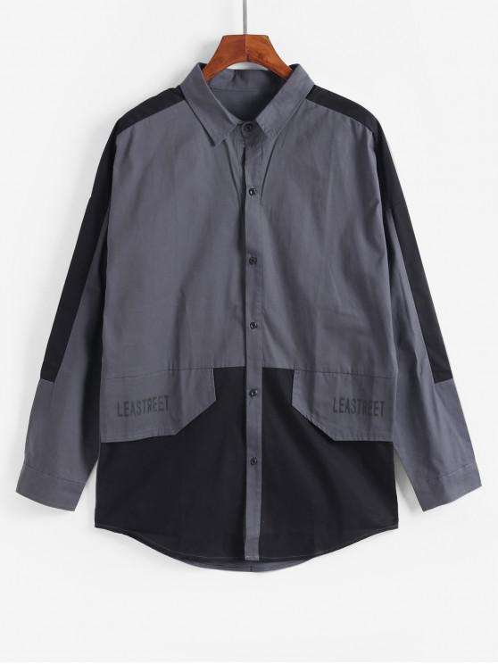 Empalmado de color de impresión de letras chaqueta informal - Gris 2XL