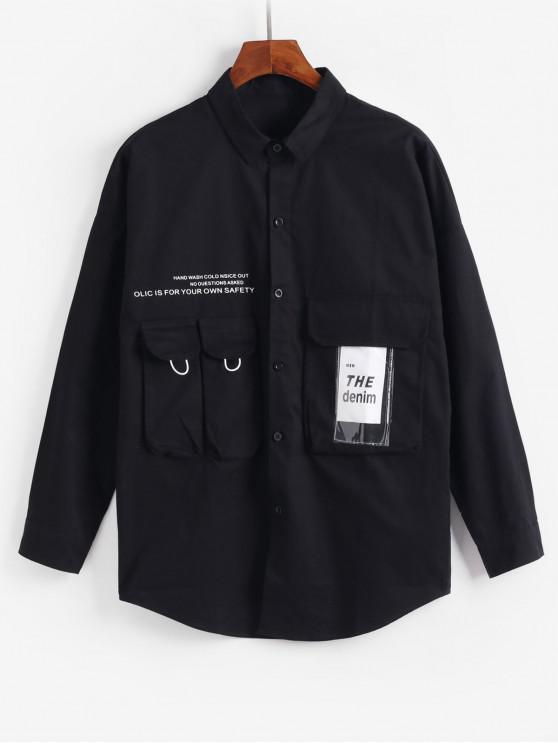 Decoración de bolsillo carta Botón Chaqueta - Negro L