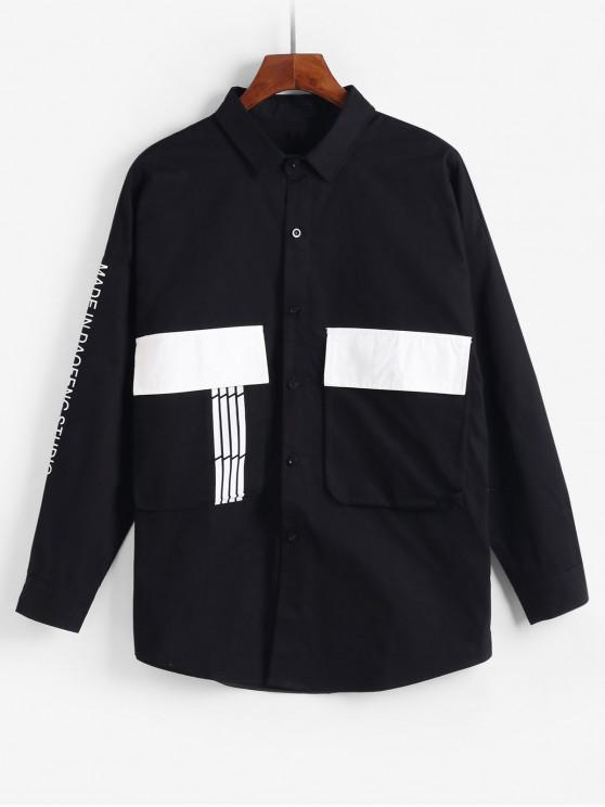 Impresa letra del bolsillo de la chaqueta decorada - Negro 4XL