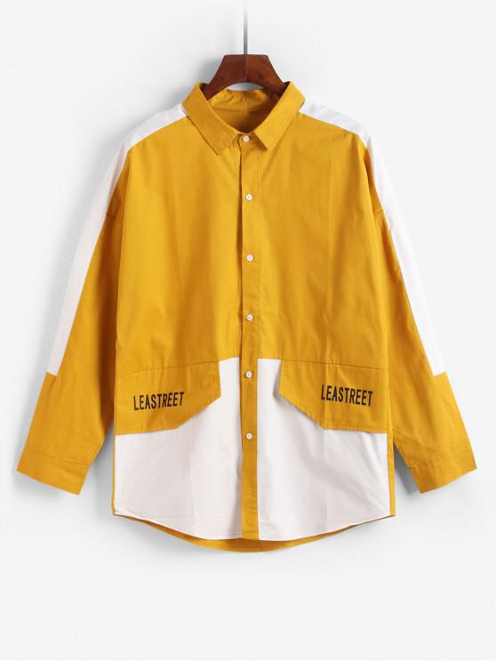 Empalmado de color de impresión de letras chaqueta informal - Amarillo 4XL