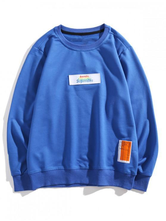 unique Multi-color Letter Graphic Applique Casual Sweatshirt - BLUE XS