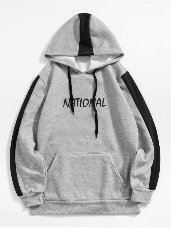 buy Letter Pattern Casual Style Pocket Hoodie - GRAY XL