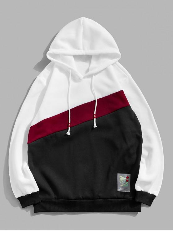 fashion Color Spliced Design Drawstring Casual Hoodie - MULTI 2XL
