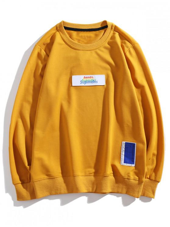 latest Multi-color Letter Graphic Applique Casual Sweatshirt - YELLOW M