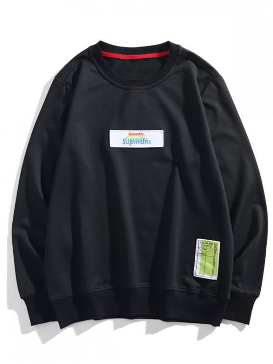 fashion Multi-color Letter Graphic Applique Casual Sweatshirt - BLACK XS