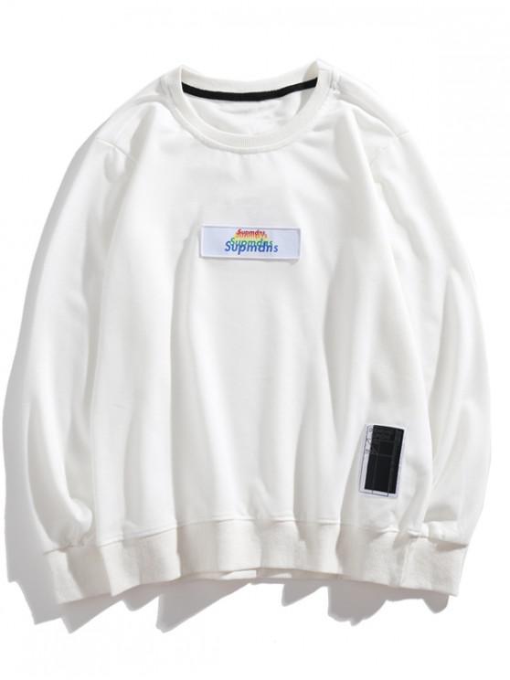 womens Multi-color Letter Graphic Applique Casual Sweatshirt - WHITE XS