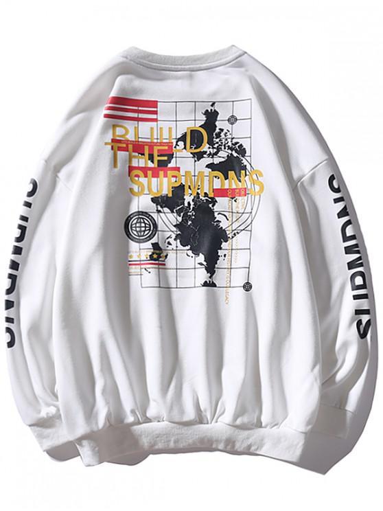 La camiseta del hombro Carta Mundial mapa gráfico gota - Blanco M