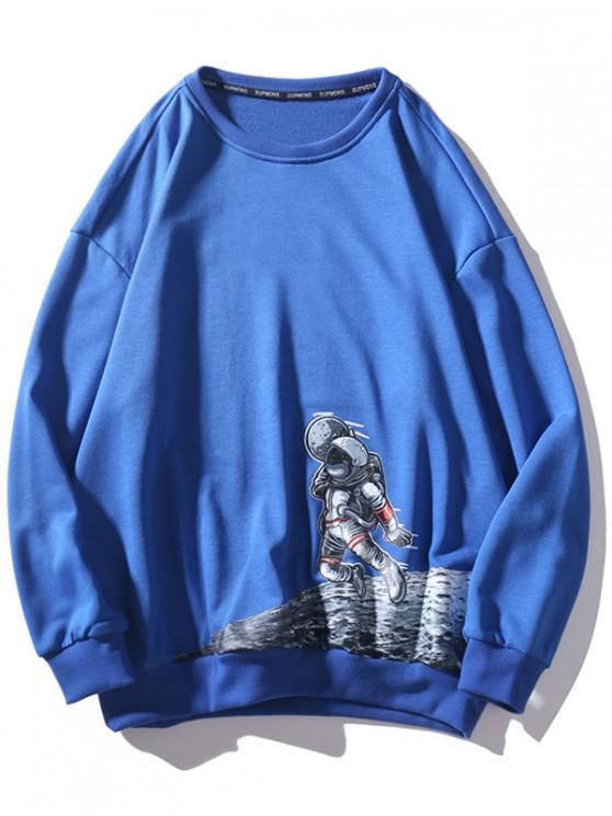El astronauta de la luna gota gráfico de hombro ocasional de la camiseta - Azul 2XL