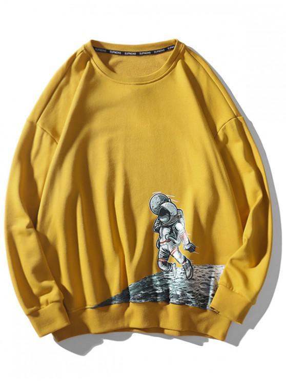 unique Astronaut Moon Graphic Drop Shoulder Casual Sweatshirt - YELLOW M