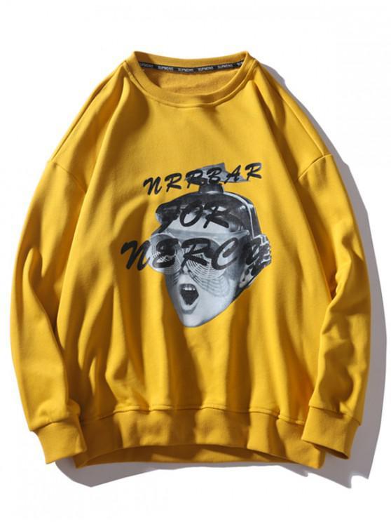 Divertidos del niño gota gráfico de hombro ocasional de la camiseta - Amarillo 3XL