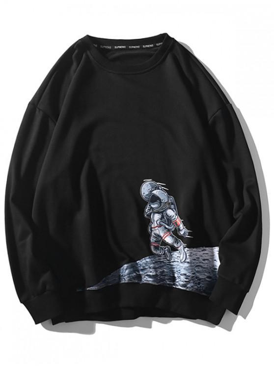 El astronauta de la luna gota gráfico de hombro ocasional de la camiseta - Negro 4XL