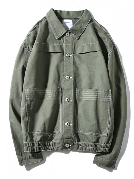 Diseño Costura bolsillos de la chaqueta cazadora caída del hombro - Ejercito Verde 2XL