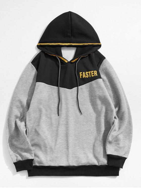 shop Color-blocking Letter Printed Casual Hoodie - GRAY L