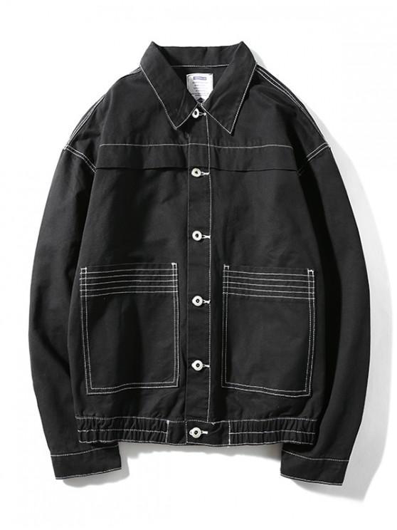 Diseño Costura bolsillos de la chaqueta cazadora caída del hombro - Negro 2XL