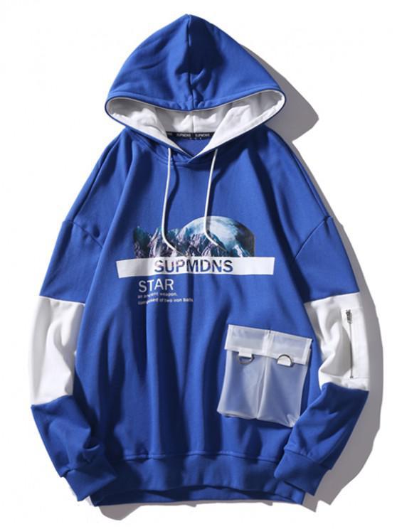unique Mountain Outer Space Graphic Contrast Color Transparent Pockets Hoodie - BLUE L