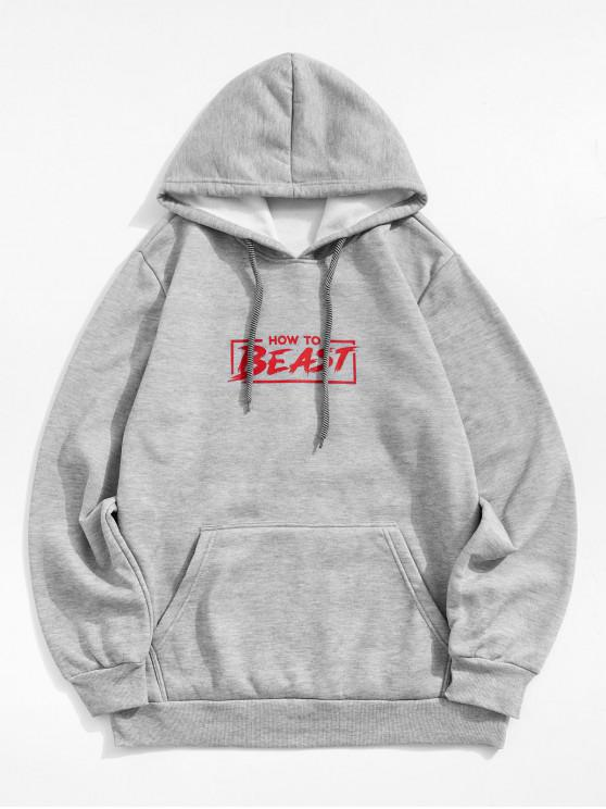 fancy Letter Graphic Printed Pocket Hoodie - GRAY L