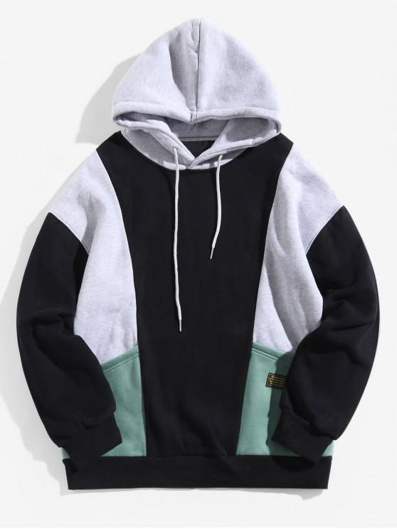 unique Colorblocking Splicing Applique Pocket Fleece Hoodie - BLACK L