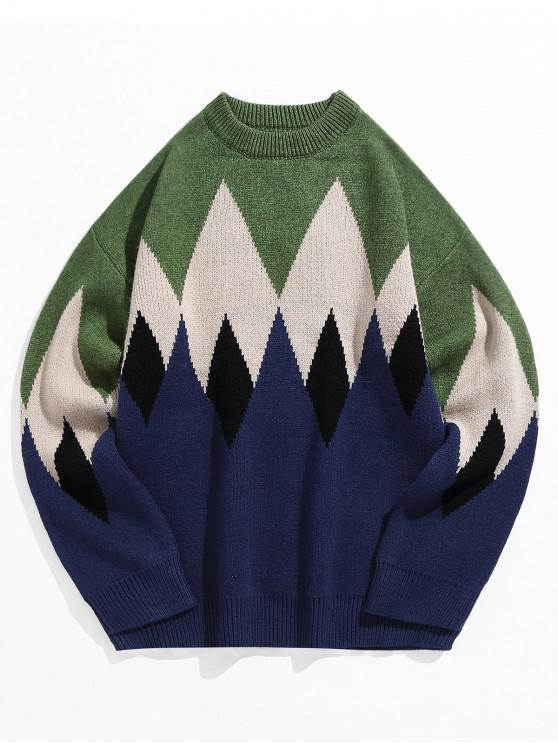 outfit Colorblock Geometric Graphic Crew Neck Pullover Sweater - MEDIUM FOREST GREEN 3XL